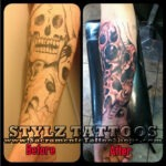 skull head tattoo cover up
