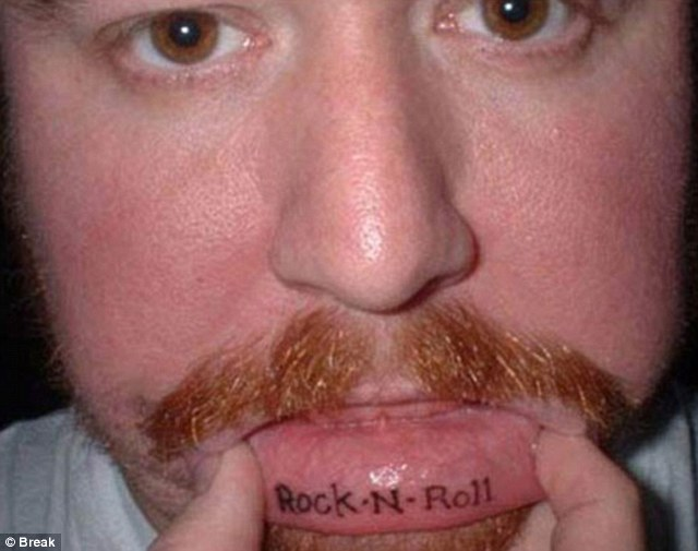 Most inner lip tattoos are a line of plain text, in part simply due to the lack of space for larger designs.