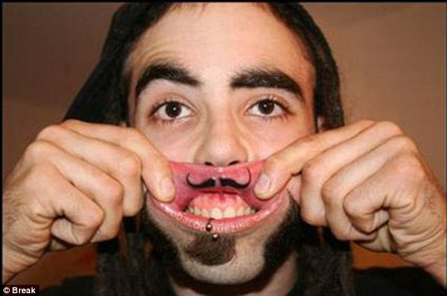 Some tattoos are rather humorous, with one joker having a moustache drawn on his upper inner lip.